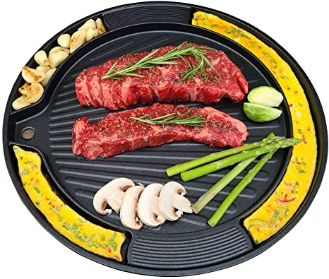Electric Indoor Grill BBQ Cooker Korean Samgyupsal Steak Round Portable 14 In