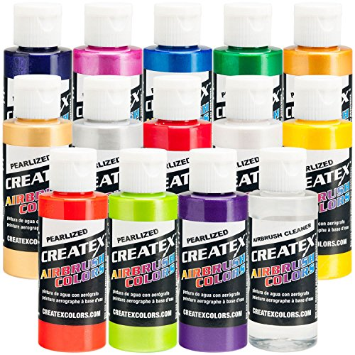 14 Pearlized/Pearl CREATEX AIRBRUSH PAINT COLORS ()
