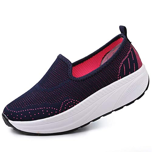 Mujer Tejer Respirable Andar Malla Zapatilla de Deporte Running Zapatillas Sacudir Casual Zapatos Height-Increasing Sneakers: Amazon.es: Zapatos y ...