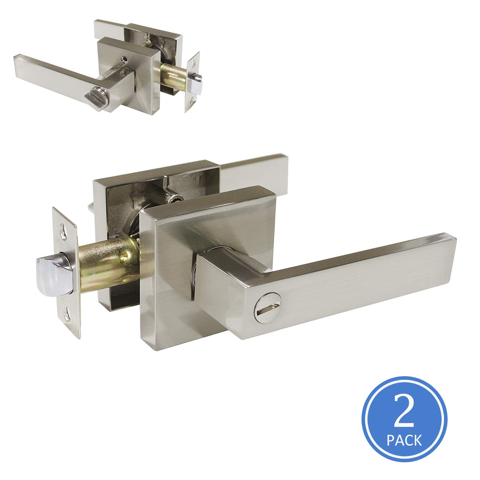Knobonly Square Bedroom Bathroom Privacy Door Lever Handle Satin Nickel Finish Keyless Door Handleset Locked Inside with Turn-Button 2 Pack