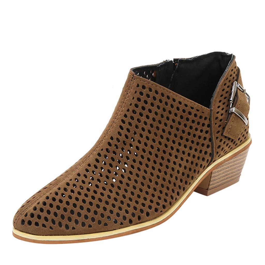 chaussures femme Manadlian Bout Pointu Bottes Couleur Pure Bottillons Boucle Sangle Chaussures Simples Chaussures à Talons Carrés 2CM