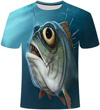 YAMAO Regalos Divertidos para Hombres Camiseta de Pesca Camiseta de cumpleaños Animales Marinos Camiseta Impresa de Pescado Hombres Camiseta de Broma de Pescador: Amazon.es: Deportes y aire libre