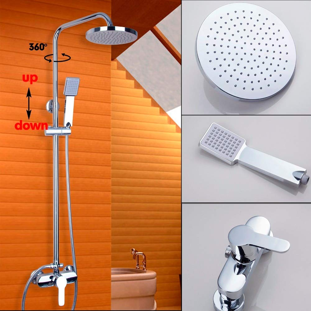 Fashion Polished Chrome Bathroom Shower Faucet Wall Mounted Bathroom Rain Shower Set Classic Shower Cold Hot Water Mixer Tap