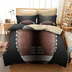 Mangogo American Fantastic Rugby American football Design,Kids Boys Bedroom Comforter Cover Bedding Set with Pillowcases No Comforter Duvet Cover Sports Themed Bedding Queen Size