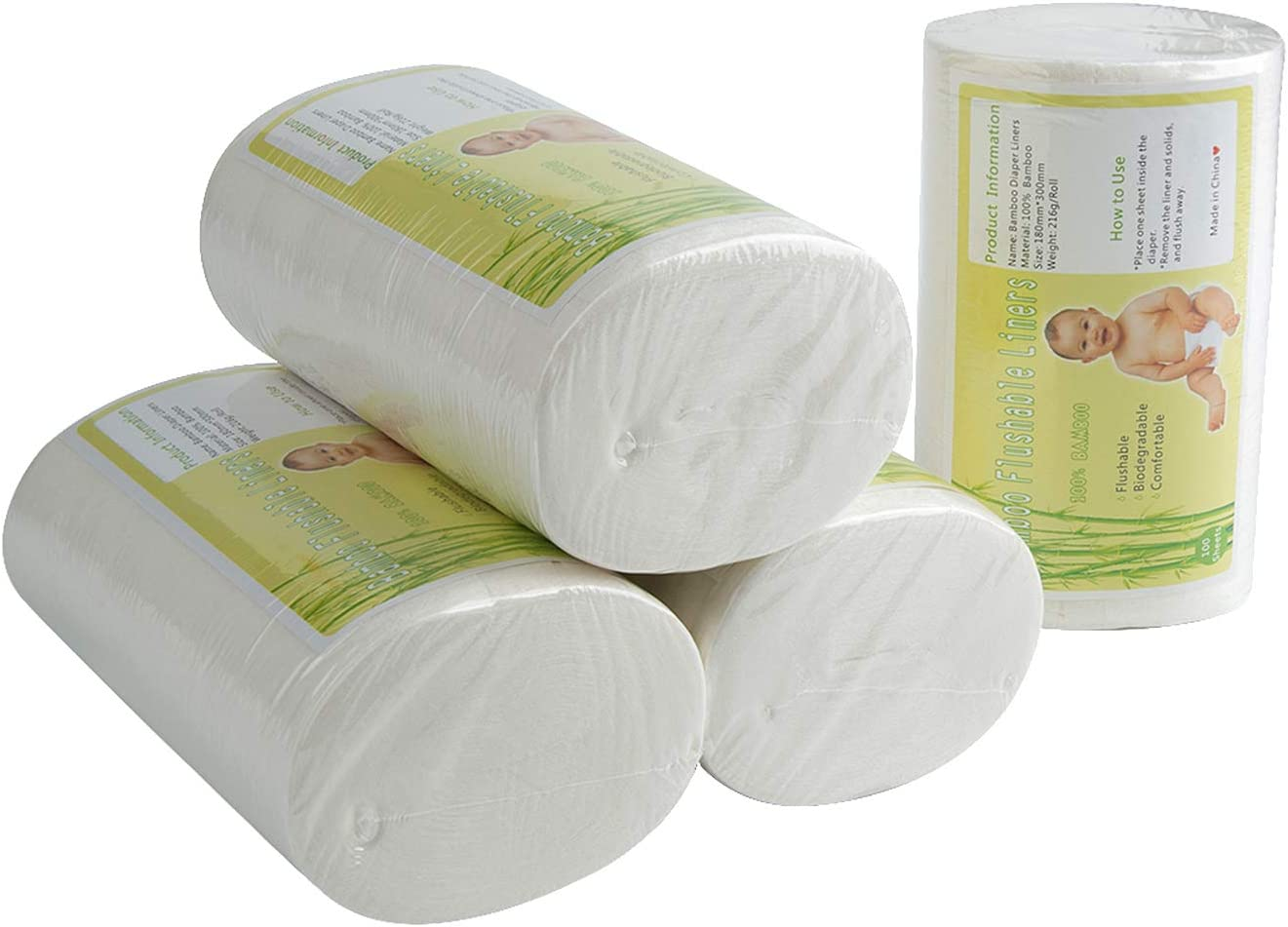 100 Pcs Flushable Liners Nappy Insert Cloth Biodegradable Comfortable Liner LH