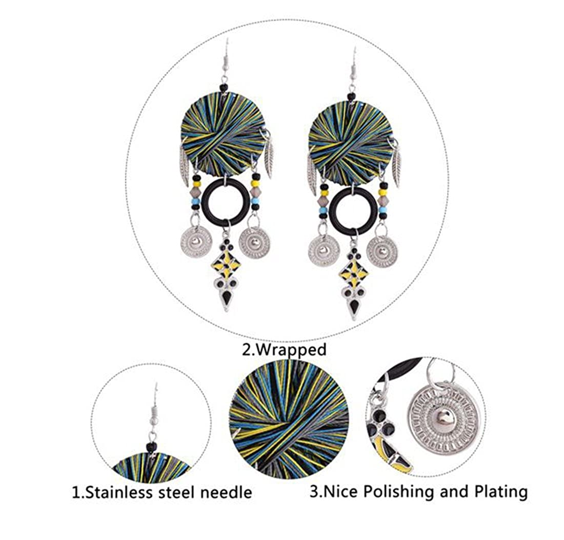 Ancient Hand-made DIY White K gold plated Coiling Circular black Earrings Beaded tassels Earings