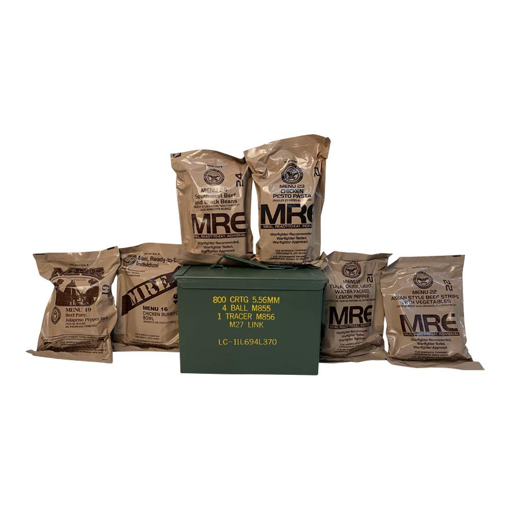 Ozark Outdoorz Military 2021 Inspection Date MREs (Meals-Ready-To-Eat) Pick a Can - Pick a Flavor-2021 Inspection Date MREs in Complementary Used Ammo Can (All Meat, Grade 1 Fat 50 Ammo Can)