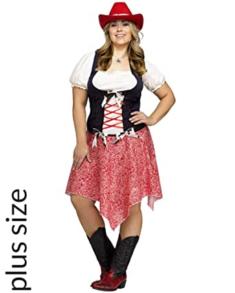 Fun World Hoedown Honey Adult Cowgirl Costume PLUS  sc 1 st  Amazon.com : plus size cowgirl costume  - Germanpascual.Com