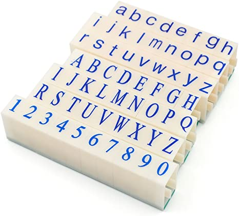 RETRO WOODEN RUBBER UPPER LOWER CASE ALPHABET LETTERS NUMBERS STAMPS 26PCS//SET