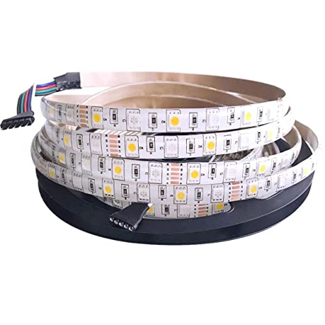Tesfish DC12V RGBWW Tira de luces LED RGB + blanco cálido Color mixto 5M 300LEDs 5050