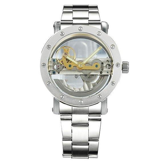 Winner - Reloj de Pulsera para Hombre, diseño de Puente Dorado con Perno 3D, Estilo Steampunk: Amazon.es: Relojes