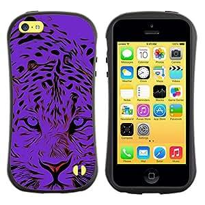"Hypernova Slim Fit Dual Barniz Protector Caso Case Funda Para Apple iPhone 5C [Tigre Negro Animal Elegante""]"