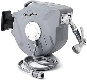vantiorango Retractable Garden Hose Reel, 65 + 7FT Hoses, 9 Pattern Hose Nozzle, with Protective Cover, Any Length Lock, 180° Swivel Bracket (Grey)