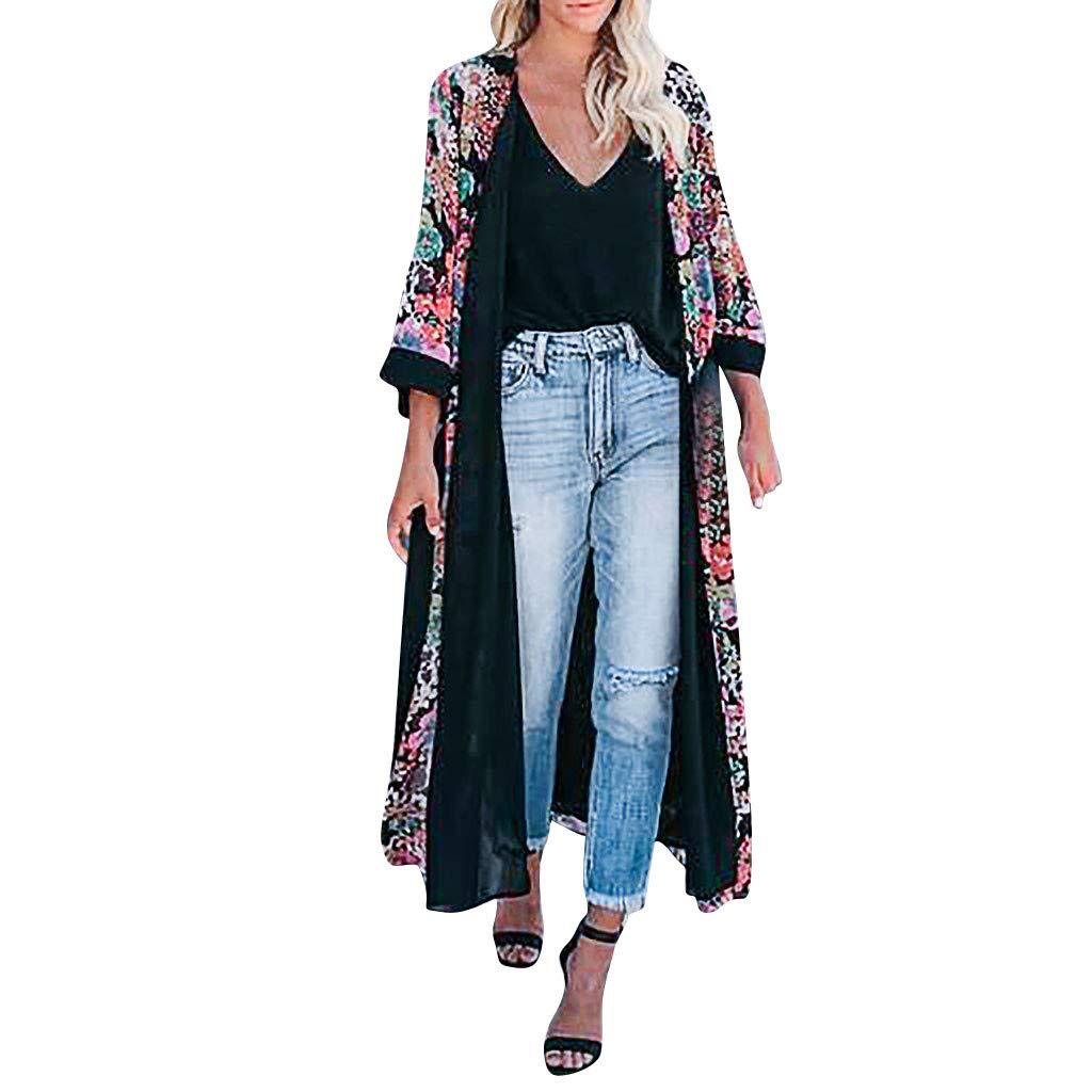 Top de Camisa de Playa para Mujer con cintur/ón Elegante Kimono c/árdigan Vintage Casual Chaqueta Tops Abrigo Largo de Mujer de Gasa Estampada c/árdigan Manga Larga