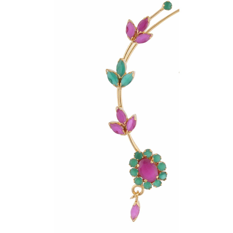 Efulgenz Ear cuffs Cubic Zirconia Halo Flower Leaf Climber Crawler Cartilage Clip on Faux Ruby Emerald Cuff Wrap Earrings by Efulgenz (Image #2)