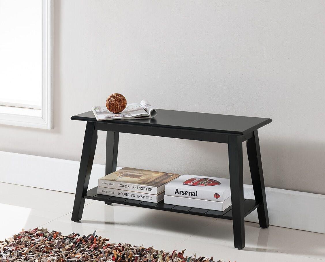 Kings Brand Black Finish Wood Bench With Storage Shelf