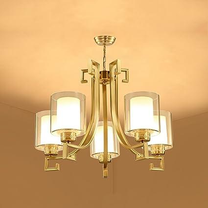 GLJXG Lampadari classici di vetro interamente in rame con quattro ...