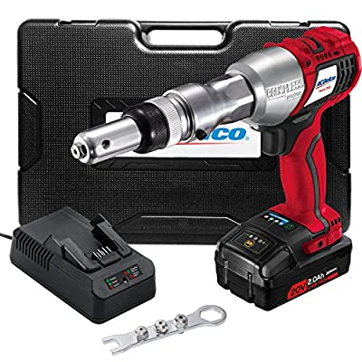 ACDelco Cordless Li-ion 20V MAX Brushless Rivet Gun Tool Kit with Charger, Battery, and Nose Pieces 3,375 Max Setting Force ARV20104B-M