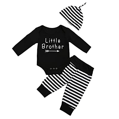 22ed46f25 DiDaDo Little Brother Long Sleeve Kids Clothes Romper Tops Stripe Pants and  Hat for Baby Boy