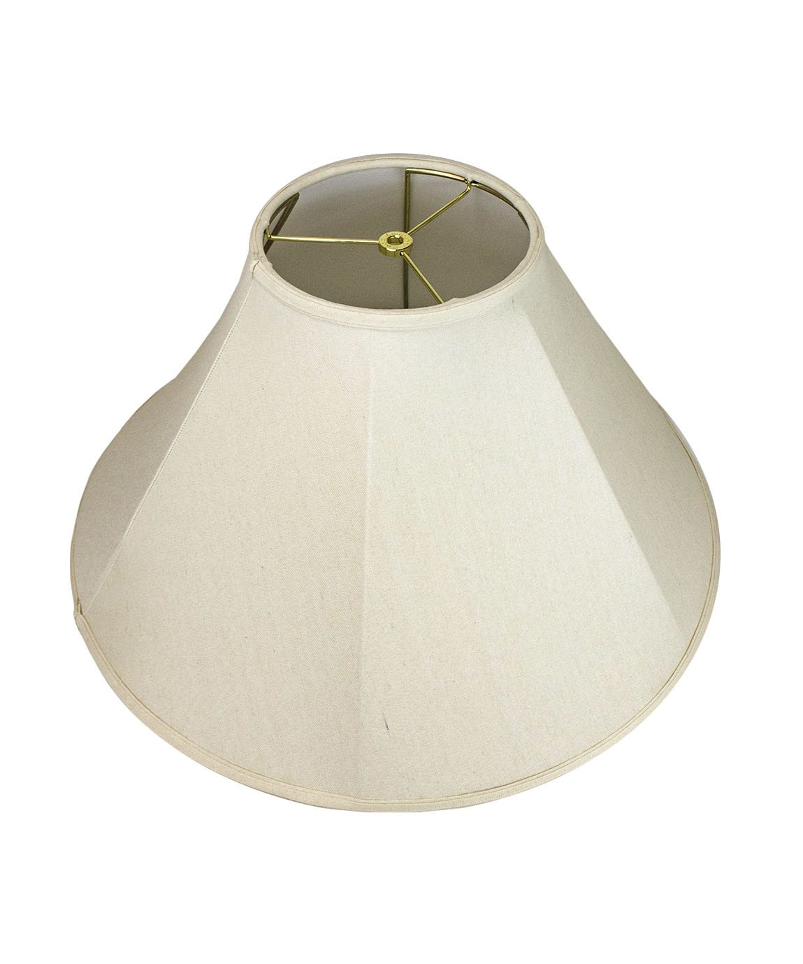 8x22x14 Coolie Lamp Shade Premium Light Oatmeal Linen with Brass Spider fitter by Home Concept - Perfect for table and floor lamps - Large, Off-white