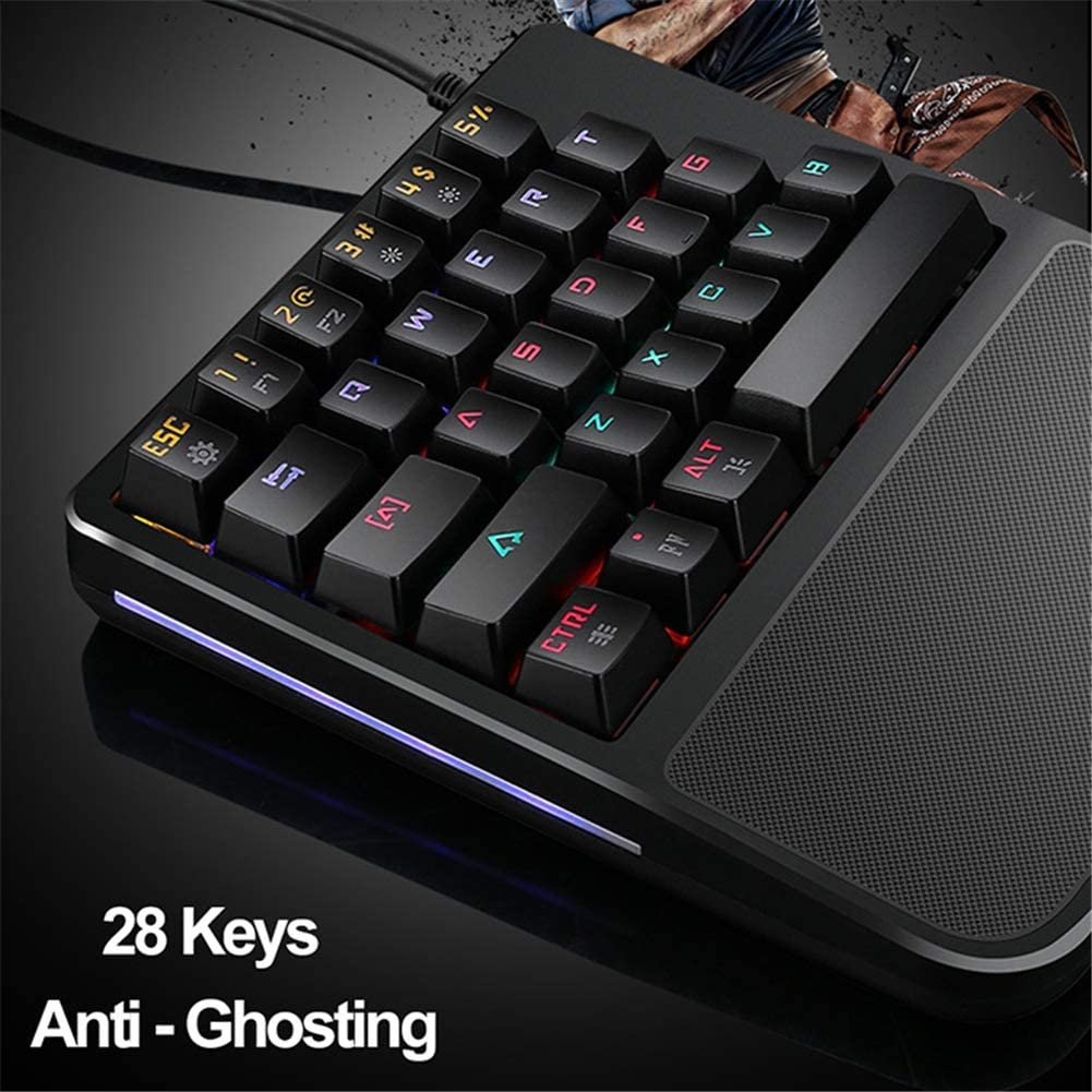 Aceyyk RGB One Hand Mechanical Gaming Keyboard PUBG Mobile One Hand Mechanical Gaming Keyboard 35-Key Blue Switch USB Wired Rainbow Portable Support Wrist Rest