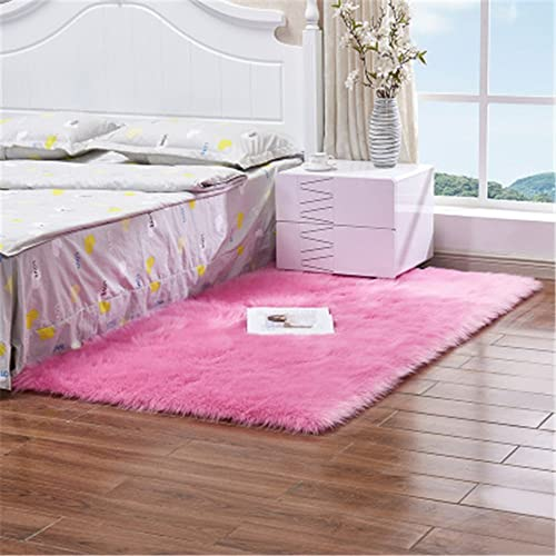 Meng Ge Luxury Soft Faux Sheepskin Fur Area Rugs for Bedside Floor Mat Plush Sofa Cover Seat Pad for Bedroom
