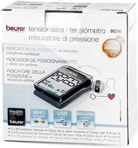 Beurer BC80 - Tensiómetro de muñeca, con conexión a PC, memoria 2 ...