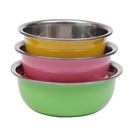 Livzing Multipurpose Stainless Steel Kitchen Storage Mixing Serving Bowl   Set of 3 Bowls