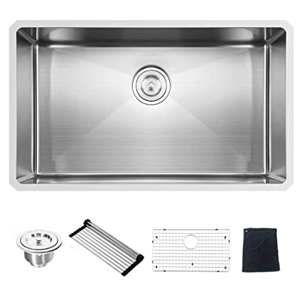 deep stainless steel kitchen sink modern kitchen commercial 32 inch 16 gauge 10 deep undermount single bowl stainless steel kitchen sink