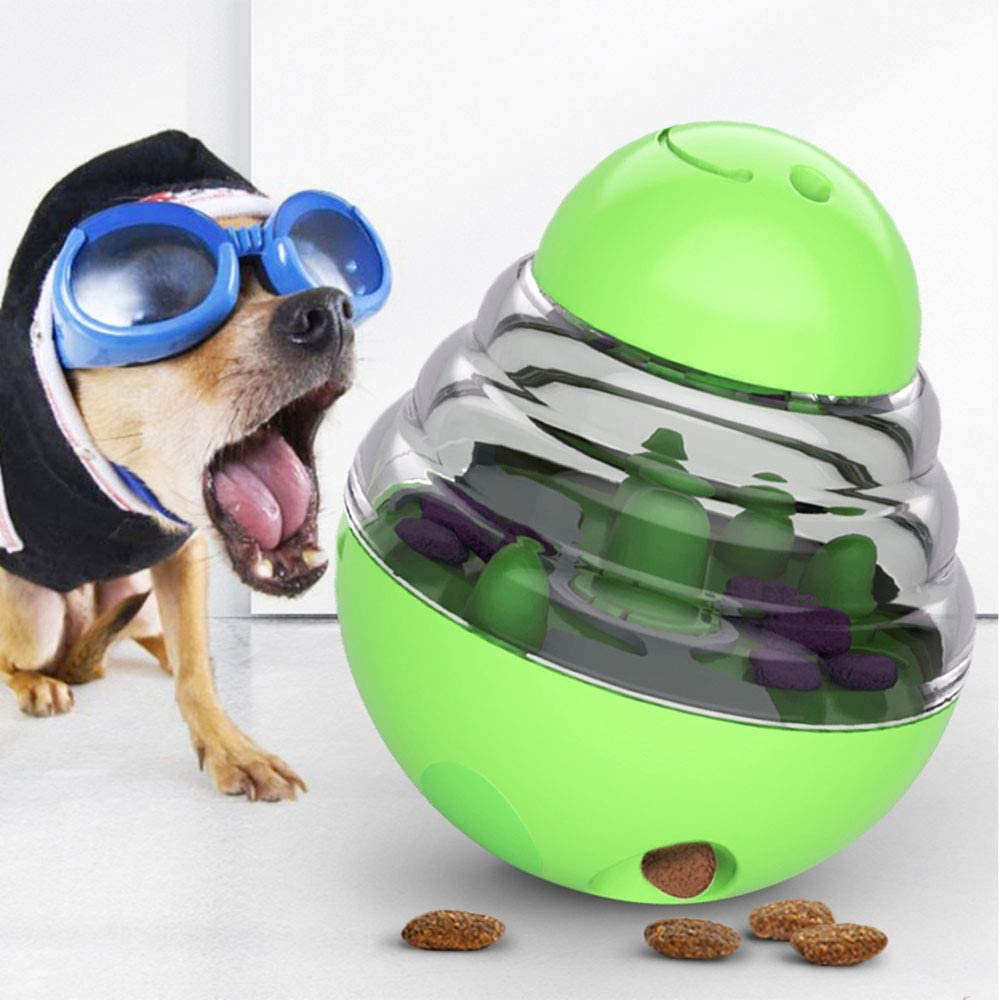 AIMUKILADO Dog Tumbler Treat Ball Pet Slow Feeder Treat Ball Small, Interactive Food Dispenser, Adjustable Treats Eat Canister, Funny Maze Gym Ball