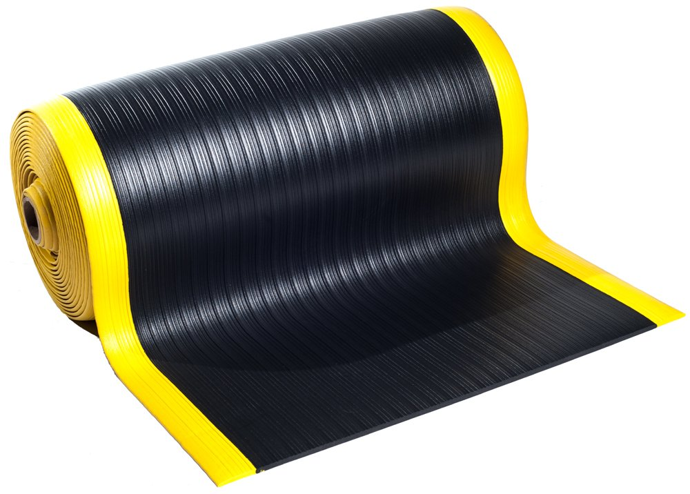 Bertech Anti Fatigue Vinyl Foam Floor Mat, 3' Wide x 15' Long x 3/8'' Thick, Ribbed Pattern, Black w/Yellow Border (Made in USA)