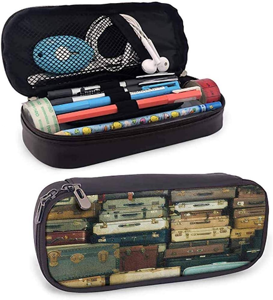 Estuche de lápices Colorido Maleta vintage Cuero antiguo Decorativo Mapa de regalo de viaje Nostalgia Lindo Marrón Crema Verde