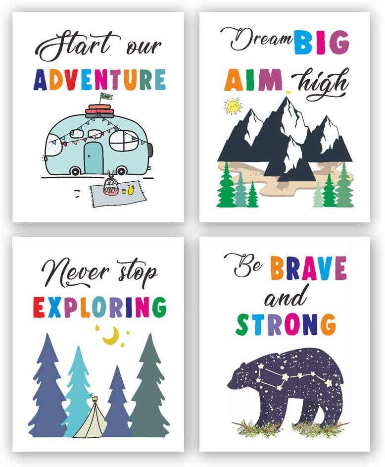 Colored Adventure Art Prints,Kids Inspirational Decor, Camping Wall Decor,Nursery Art, Inspirational Wall Art for Kids,Outdoor Camping Inspirational Canvas Wall Art, Forest Animal Inspirational Canvas Posters(8 X 10 Inches, 4-piece set,Frameless)suitable for Children's Bedroom and Children's Playground Decoration