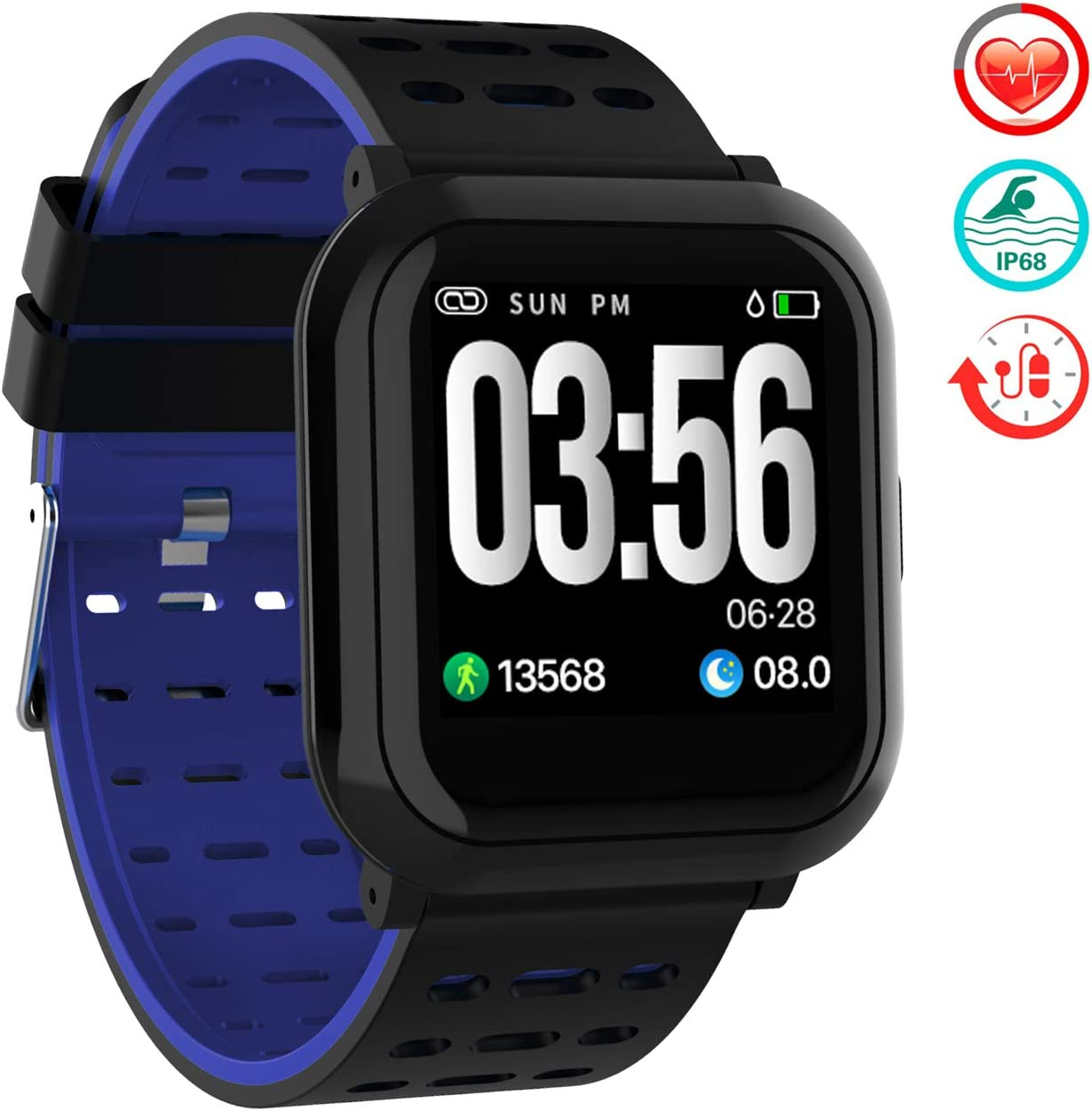 TwobeFit Fitness Tracker, Activity Tracker Smart Watch with 1.3 Color Screen, Waterproof Fitness Watch with Calorie Step Counter Sleep Monitor Heart Rate Monitor for Kids Men Women Black-Blue