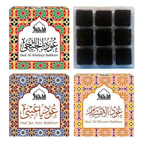 - Dukhni Oud Al Khaleeji, Oud Ya Aini, Oud Al Ibtisam - Bakhoor (Set of 3) - 9 Pcs Each