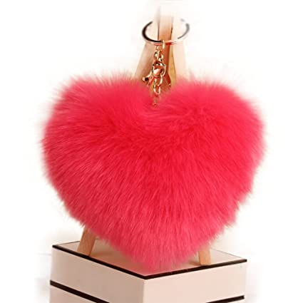 Qingsun Love Heart Fluffy Keychain Pom Pom Fluffy Key Chain Faux Rabbit Fur Ball key ring