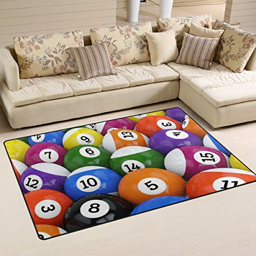 WellLee Sports Area Rug,Colorful Glossy Pool Game Billiard Balls Floor Rug Non-slip Doormat for Living Dining Dorm Room Bedroom Decor 60x39 Inch