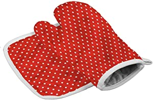 Oven Gloves Abstract Use As Oven Mitts, Pot Holders, Feminine Polka Dots Design