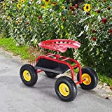 MD Group Red/Green Garden Cart with Heavy Duty Tool Tray, Red