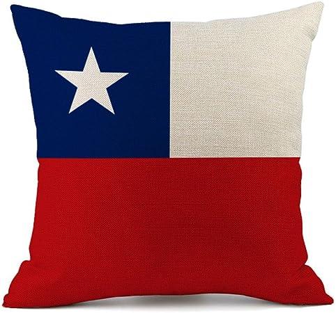 Funda de cojín con diseño de Bandera, de algodón de Lino, para sofá o coche, 45 x 45 cm, Chile, 45 x 45 cm: Amazon.es: Hogar