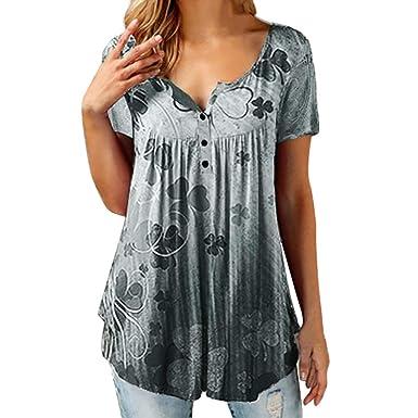 Qingsiy Mujeres Verano Moda Camisetas Suelta Pullover Casual ...