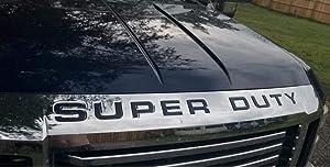 Front Hood Super Duty Chrome Inserts Letters Reflective Raised Trim Set for Super Duty 2008 2009 2010 Ford F-250 F250 F 250 F-350 F350 F 350 F-450 F450