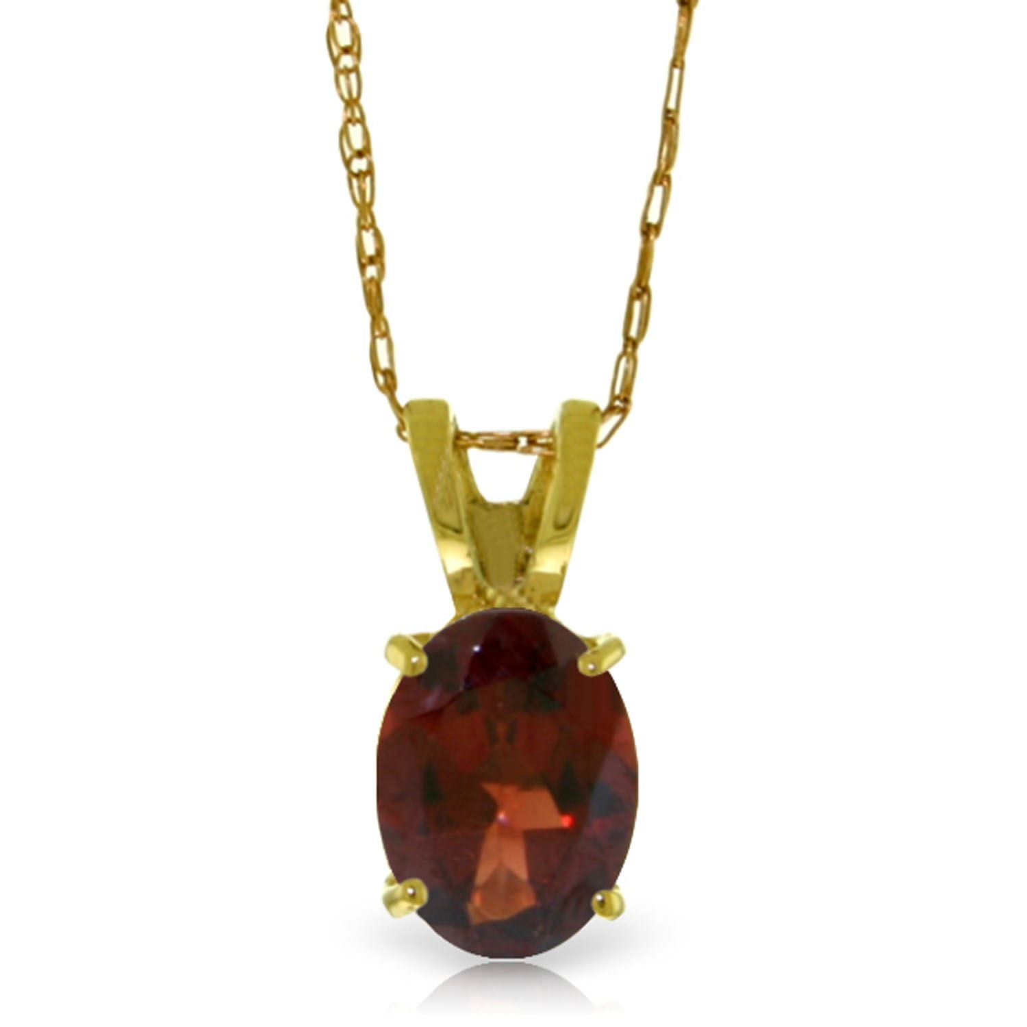 ALARRI 0.85 Carat 14K Solid Gold Visions Of Love Garnet Necklace with 18 Inch Chain Length