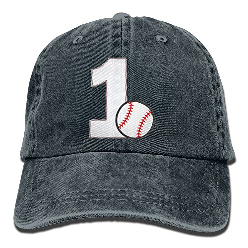 Uanqunan Baseball First Birthday Unisex Cotton Denim Baseball Cap Adjustable Strap Low Profile Plain Hats Navy