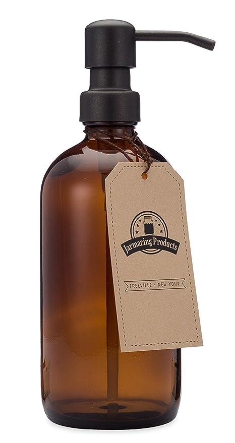 jarmazing productos ámbar tarro de cristal dispensador de jabón y loción con bomba de color negro