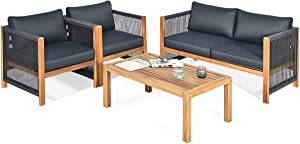 Tangkula Outdoor Wood Furniture Set, Acacia Wood Frame Loveseat Sofa, 2 Single Chairs and Coffee Table, 4 Pieces Conversation Set with Cushions, Garden Balcony Poolside Outdoor Living Set (1, Grey)