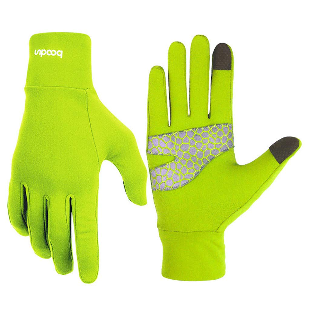 Unisex Winter Gloves, Warm Thermal Gloves Running Gloves Cold Weather Gloves Driving Riding Cycling Gloves Outdoor Sports Gloves for Men and Women (Green, L)