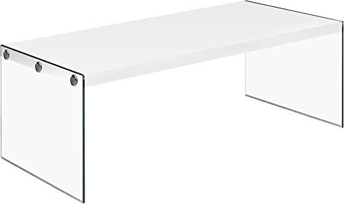 Monarch specialties , Coffee Table, Tempered Glass, Glossy White, 44 L