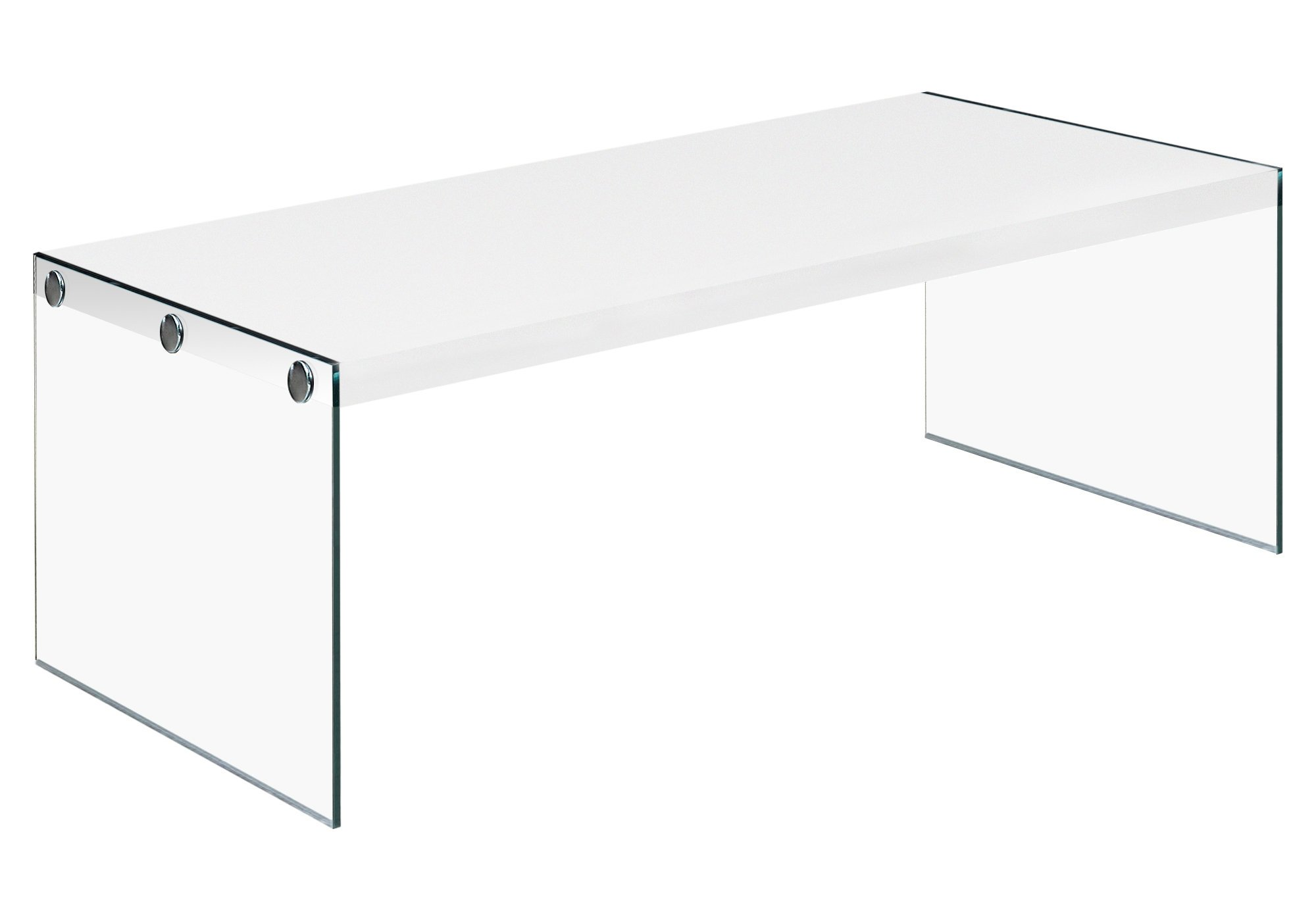 Monarch specialties , Coffee Table, Tempered Glass, Glossy White, 44''L by Monarch Specialties