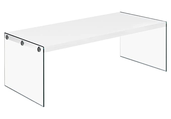 Amazon.com: Monarch Specialties I 3286, Coffee Table, Tempered Glass,  Glossy White, 44